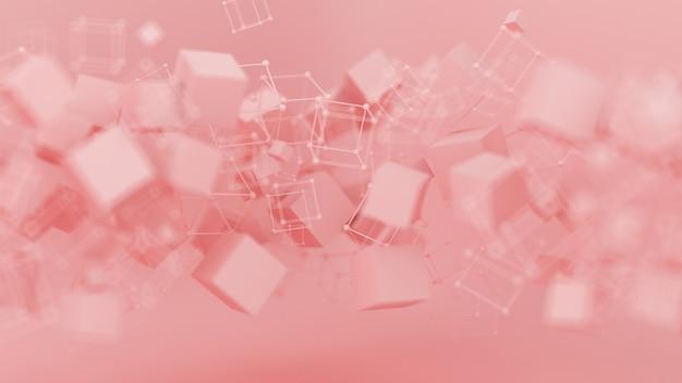 抽象的なピンク紫の背景、スタジオのミニマリズムの粒子。 3dイラスト、3dレンダリング。