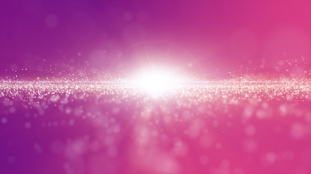 Abstract pink and purple color digital particles wave with dust and light background