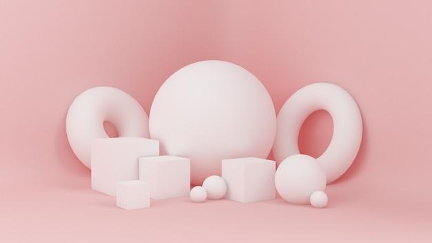 抽象的なピンク、スタジオのミニマリズムの粒子。