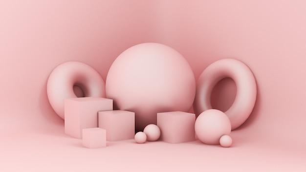 추상 분홍색, 스튜디오 미니멀리즘 입자
