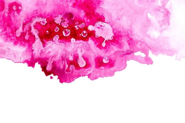 흰색 표면에 추상 핑크 수채화 아트 핸드 페인트.
