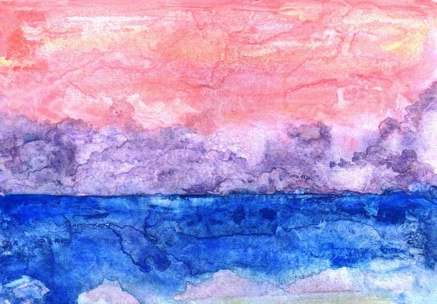 하늘과 푸른 바다의 추상 분홍색 수채화 배경