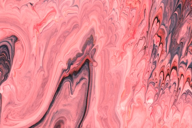 Abstract pink waves fluid acrylic pour painting