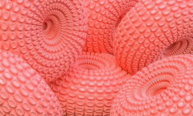 Абстрактные розовые колеса 3d визуализации фона
