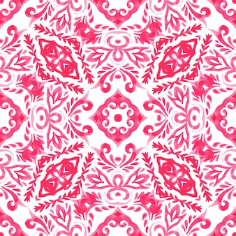 Abstract pink and white hand drawn tile seamless ornamental watercolor paint pattern. gorgeous damask background. tiling mosaic.
