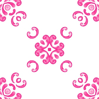 Abstract pink and white hand drawn tile seamless ornamental watercolor paint pattern