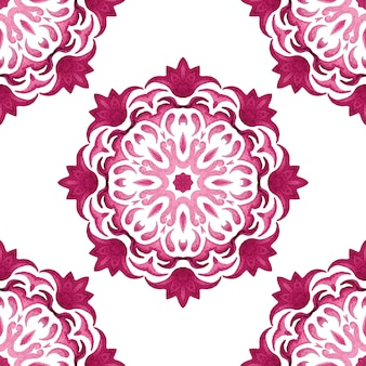 Abstract pink and white medallion tile seamless ornamental  pattern. elegant luxury mandala texture for fabric and wallpapers, backgrounds and page fill.