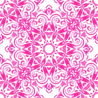Abstract pink and white medallion tile seamless ornamental pattern. watercolor tile sun pattern with flower abstract.
