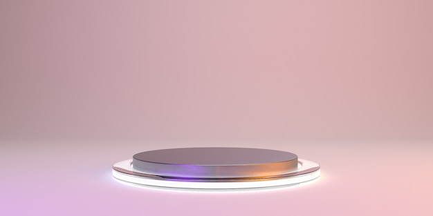 Abstract pink   with metal shape podium for product. glowing minimal  . 3d render