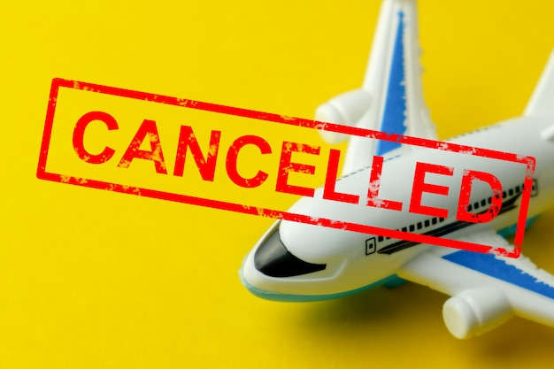 Abstract plane with the word cancelled.
