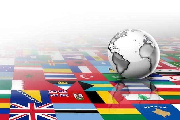 世界の旗を背景にした抽象的な惑星
