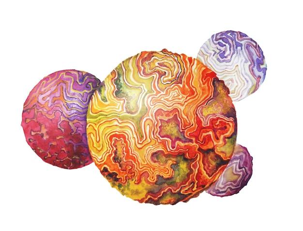 Абстрактное пространство планеты земля. изолированный акварельный рисунок космического молуколарного спутника сфера. пузыри воды лунный пейзаж текстуры фона иллюстрации.