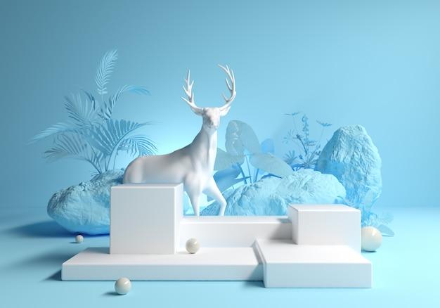 自然の森のファッションデザインの鹿と抽象的なプラットフォーム