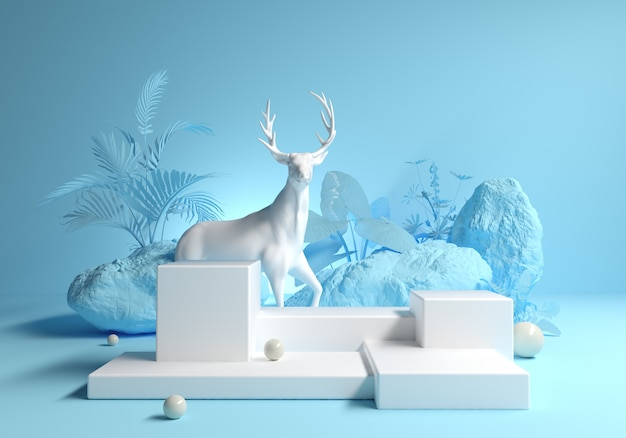 Abstract platform with deer in natural forest fashion design
