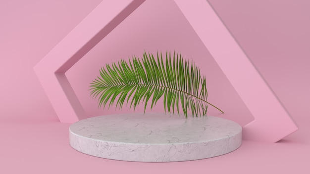 Abstract platform with palm leaf