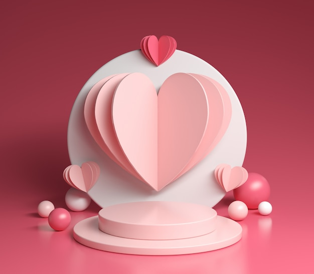 Abstract  platform with paper heart pastel pink color 3d render