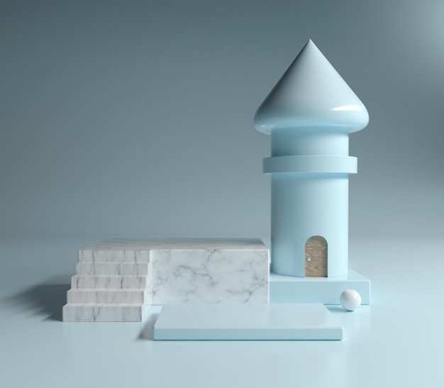 Abstract platforme white marble and cosmetics with blue pastel geometric shapes and tower, 3d illustration