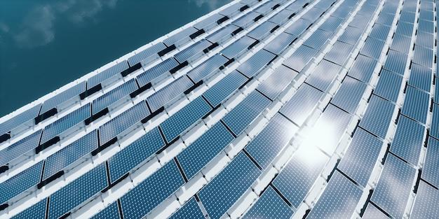 Абстрактный игривый узор из многих плавающих солнечных панелей, установленных на белых понтонах, расположенных на спокойной воде. 3d визуализация.