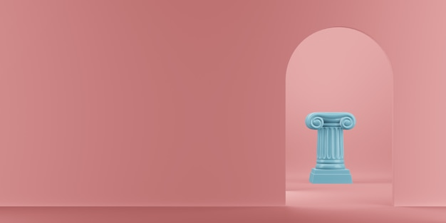 Abstract podium blue column on the pink background with arch. the victory pedestal is a minimalist concept. 3d rendering.