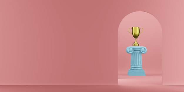 Abstract podium blue column with a golden trophy on the pink background with arch. the victory pedestal is a minimalist concept. 3d rendering.