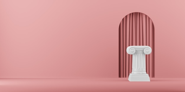 Abstract podium column on the pink background with arch. the victory pedestal is a minimalist concept. 3d rendering.