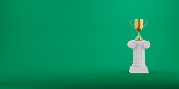 녹색 배경에 황금 트로피와 함께 추상 연단 열. 승리 받침대는 미니멀리스트 컨셉입니다. 텍스트를위한 여유 공간. 3d 렌더링.
