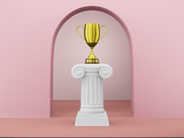 Abstract podium column with a golden trophy on the pink background with arch