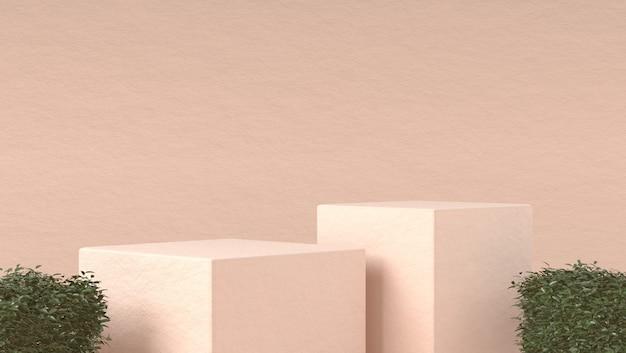 Абстрактный подиум для размещения косметической продукции в пастельных тонах