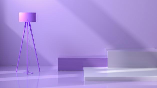 抽象的な表彰台パステルカラー構成紫パステル表彰台の背景