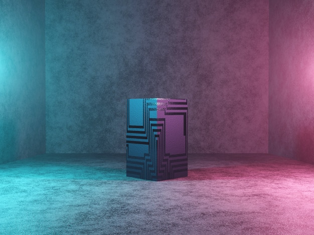 Abstract podium, pedestal or platform - a cube with texture on concrete background. 3d rendering