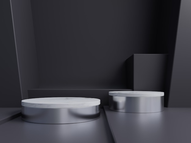 Abstract podium for placing products and for placing prizes with dark.