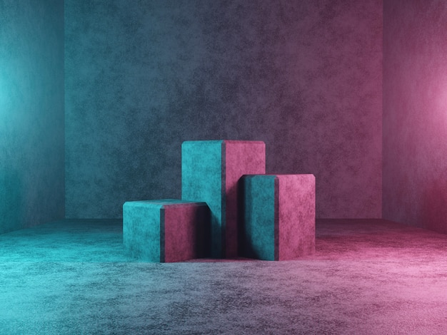 Abstract podium or platform on a dark concrete background 3d rendering