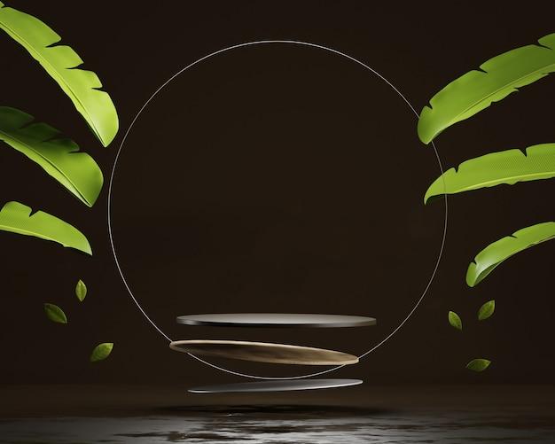 Абстрактный дисплей продукта платформы подиума с 3d-рендерингом банановых листьев