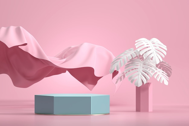 Abstract podium for product display showcase with monstera pot and cloth in pink studio backdrop 3d rendering