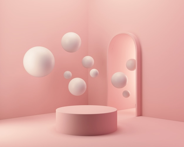 Abstract podium for product presentation, minimal pastel scene, 3d rendering.