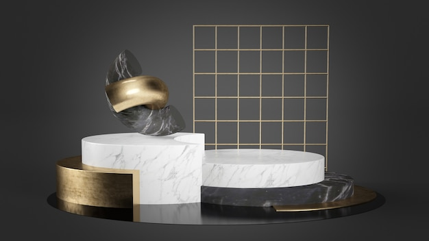 Abstract podium with geometrical shapes in marble and gold 3d rendering