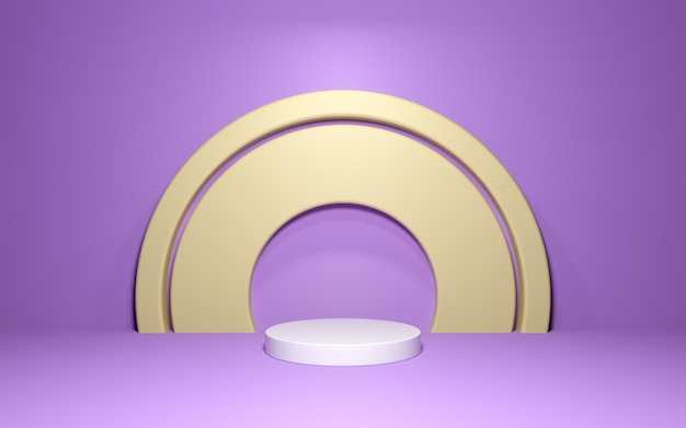 Abstract podium with golden arch on purple wall