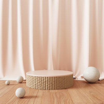 Abstract podium with pink curtains and spheres