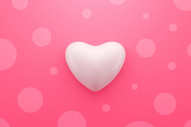 Абстрактные точки польки и белое сердце формируют на розовой предпосылке с счастливым фестивалем валентинки или концепцией картины влюбленности. 3d-рендеринг.