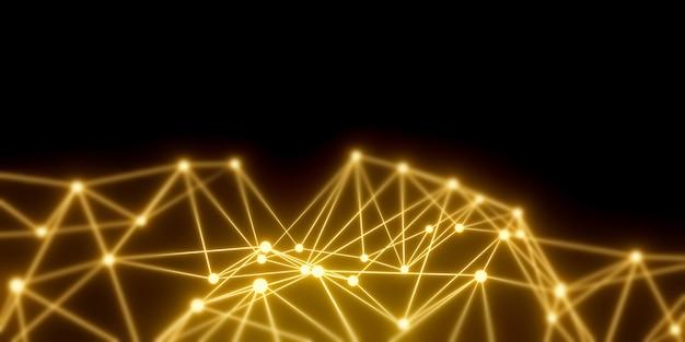 接続ドットと暗い幾何学的な線の抽象的なポリゴン。