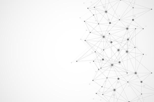 接続された線と点のミニマルな幾何学模様の分子と抽象的な多角形の背景..。