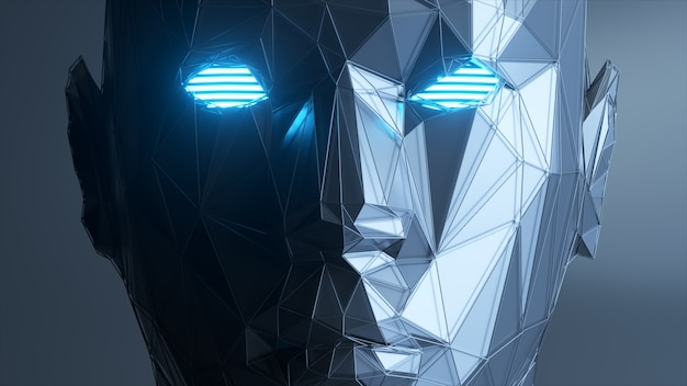 抽象的な多角形の人間の顔、人工知能の概念。 3dイラスト