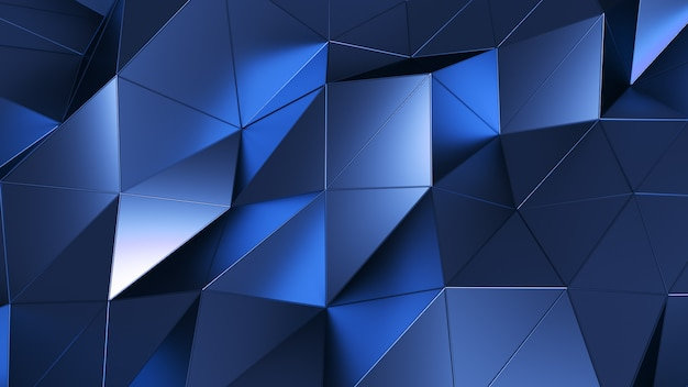 Abstract polygonal metal surface. geometric poly blue triangles motion background. 3d illustration