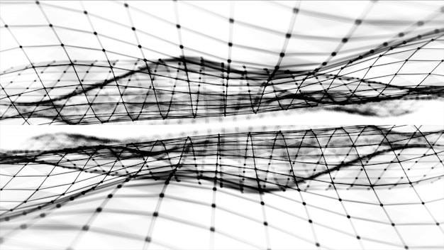 Abstract polygonal space low poly black and white background with connecting dots and lines. connection structure. futuristic hud background. 3d illustration