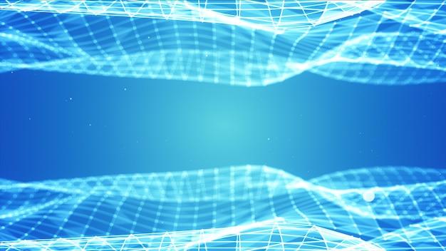 点と線を結んで多角形空間低ポリ暗い背景を抽象化します。接続構造。未来のhudの背景。 3dイラスト