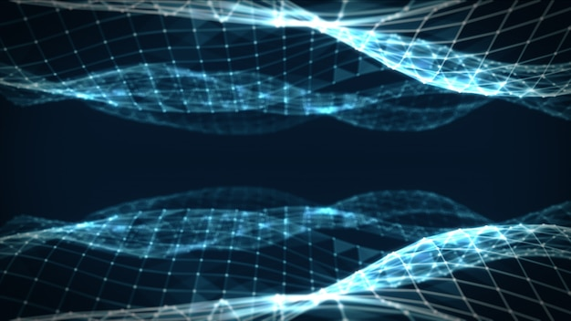 Abstract polygonal space low poly dark blue background with connecting dots and lines. connection structure. futuristic hud background. 3d illustration