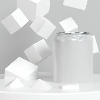 Presentazione del contenitore pop top astratto con cubetti di zucchero