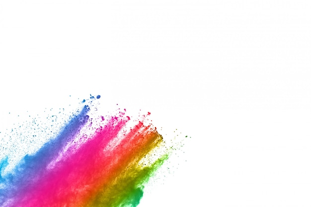 Abstract powder splatted background. colorful powder explosion on white background