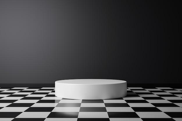 어두운 방 받침대 또는 배경 화면이있는 흰색 연단에 추상 제품 배경과 체크 무늬 패턴 바닥. 3d 렌더링.