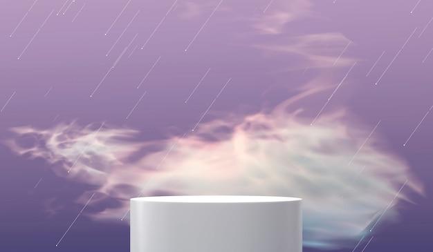 클라우드 3d 렌더링 추상 제품 디스플레이 연단